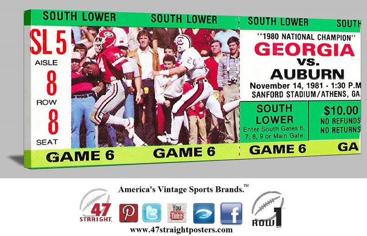 Football gifts. Georgia Bulldogs football ticket art on canvas. 1981 Auburn vs. Georgia. #Georgia #Bulldogs #collegefootball #47straight Georgia Bulldogs football tickets.