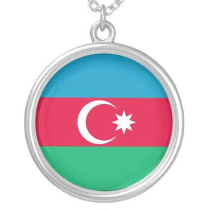 #Azerbaijan Flag Silver Plated Necklace - #country gifts style diy gift ideas