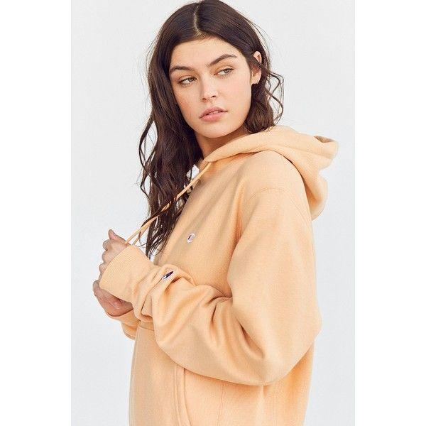 Champion + UO Reverse Weave Hoodie Sweatshirt (1,165 MXN) ❤ liked on Polyvore featuring tops, hoodies, beige hoodie, reversible top, sweatshirt hoodies, sleeve top and beige top
