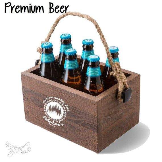 Custom Personalized Monogrammed Beer Caddy Unique Gift Mens Gift Groomsman Wedding Man Cave Beer Caddy Wooden Beer Caddy Beer
