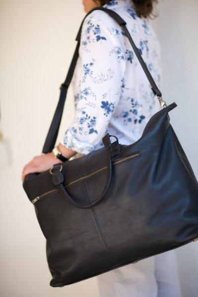 Mally black leather weekender bag