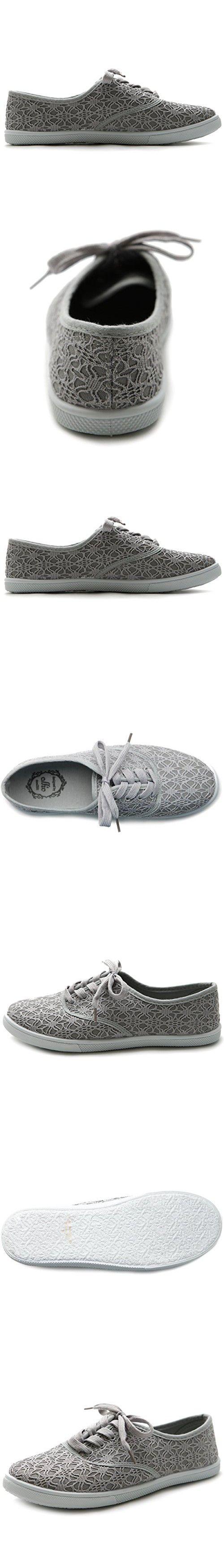 Ollio Women's Ballet Shoe Lace Up Sneaker Canvas Flat (7.5 B(M) US, Grey)