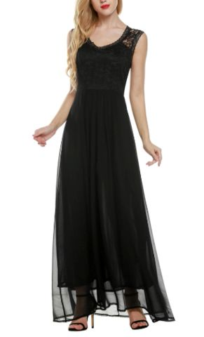 Black Lace Elegant Sleeveless Gown Long Dress -  Addy's Dress Vintage Inspired Canada