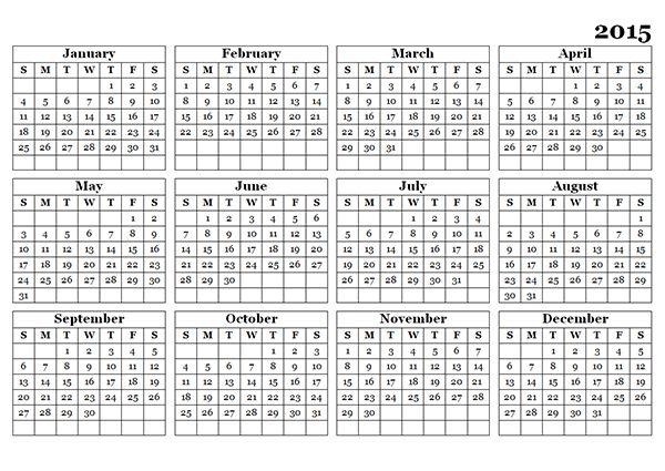 full year calendar template 2015