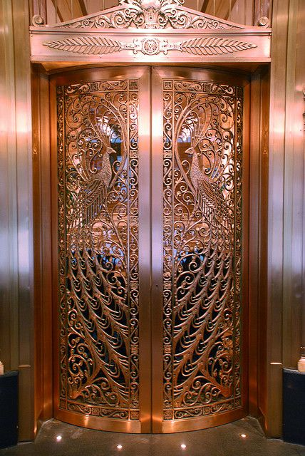 peacock doors at the Palmer House Hilton, Chicago