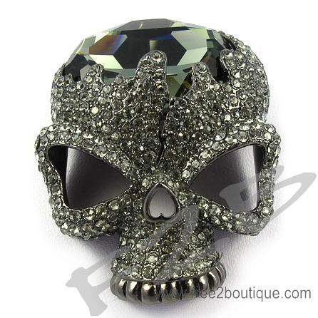 Cool Skull Swarovski Crystal Brooches(RFB2920X) ,Swarovski outlet,Swarovski iphone cases,Swarovski necklaces