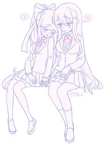 I really like this ship || #yuri #monika #ddlc