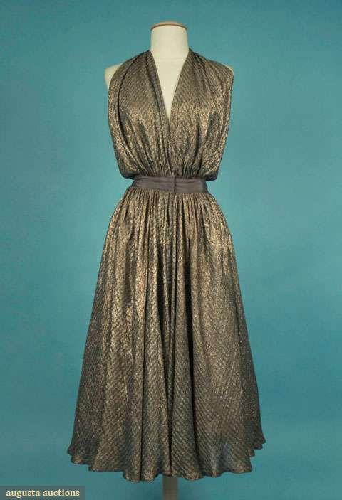 Augusta Auctions, November 2009 Museum Fashion & Textile Sale, Lot 159: Bonnie Cashin Lame Cocktail Dress, 1943
