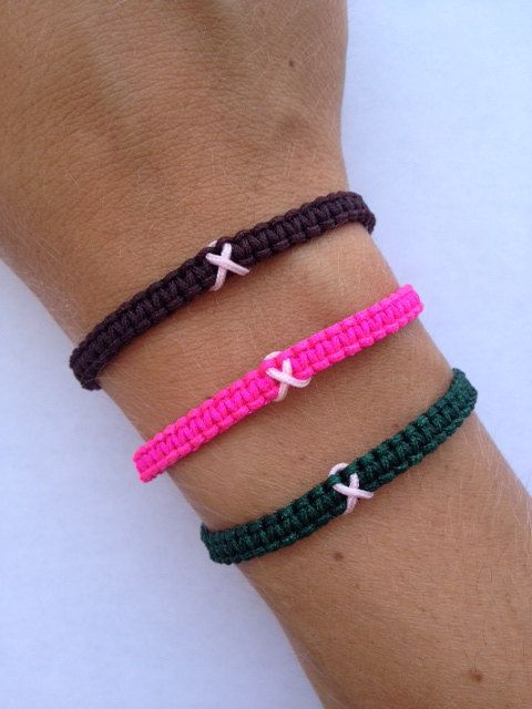 T Cancer Awareness Macrame Bracelet With Pink Ribbon Survivor Hope Strength Support Fundraising Pinterest
