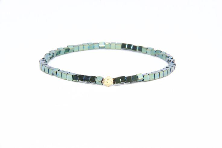 14K Solid Yellow Gold Beaded Bracelet Green Hematite Beads - Men's & Women's Stylish & Unique Bracelets