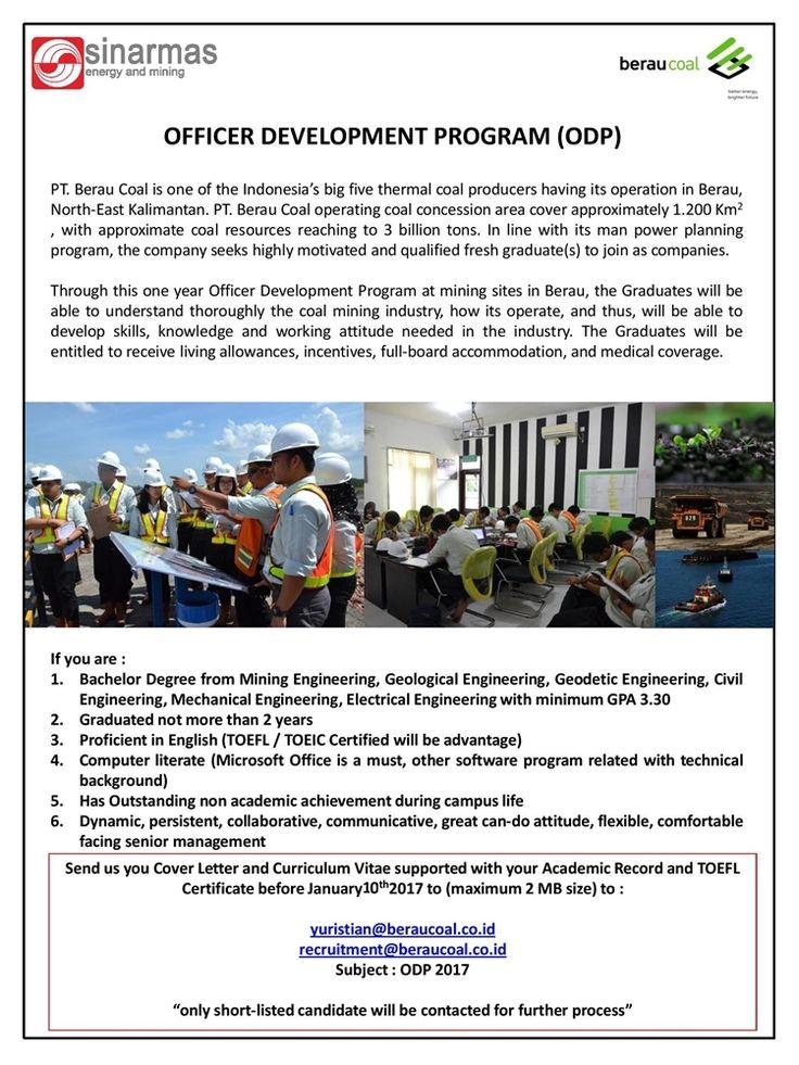JOIN! Officer Development Program (ODP) from Sinarmas Energy and Mining (Berau Coal) for Bachelor Degree >> http://bit.ly/2ixFPIy    DEADLINE: 10 January 2017 #itbcc #karirITB #ITBcareer