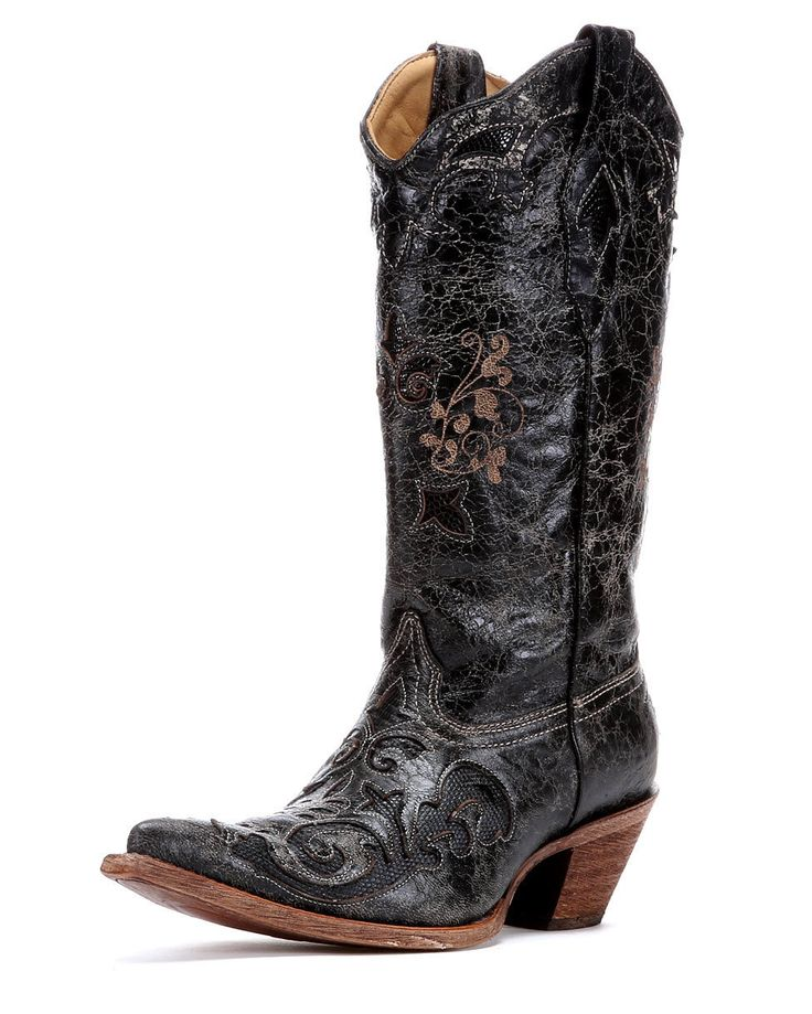 Cowboy Boots for Women | Corral Women's Distressed Black Lizard Inlay Cowboy Boot - C2108