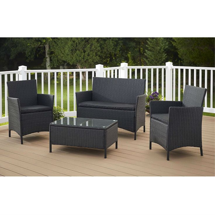 Jamaica 4 Piece Patio Furniture Set In Outdoor Resin Wicker With Black  Cushions