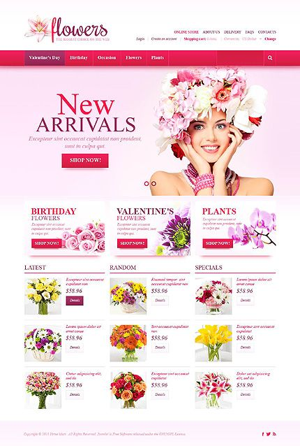 Flowers website inspirations at your coffee break? Browse for more VirtueMart #templates! // Regular price: $126 // Sources available: .HTML,  .PSD, .PHP, .XML, .CSS, .JS #Flowers #VirtueMart