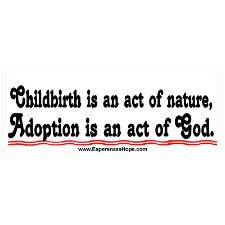 Childbirth is an act of nature, Adoption is an act of God.