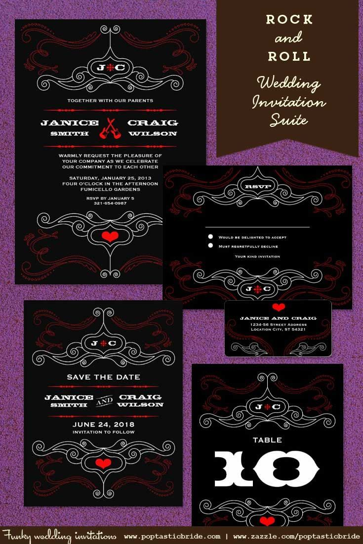 Rock N Roll Wedding Invites And Invitations Music Theme Invitation Suite Inspired By The Layouts Of Vintage Art