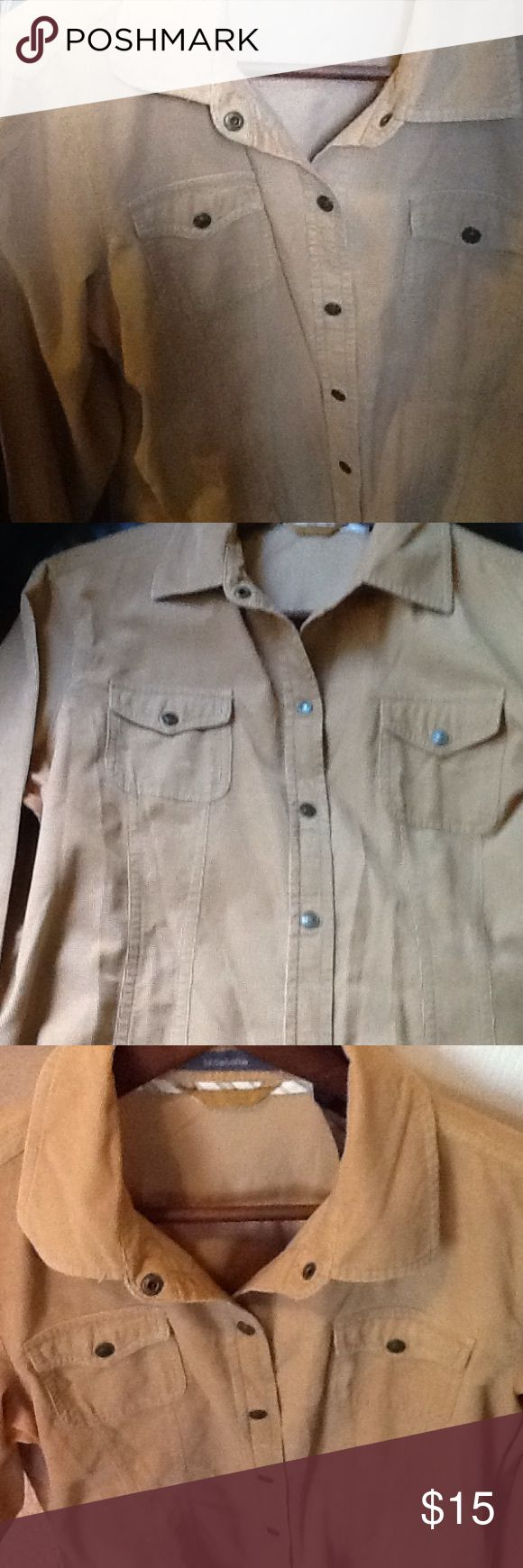 Corduroy shirt. Weekend Sale! Great for the cool weather corduroy shirt. Long sleeve spread collar snap button front with dart shape bodice Tan color Liz Claiborne Tops Button Down Shirts