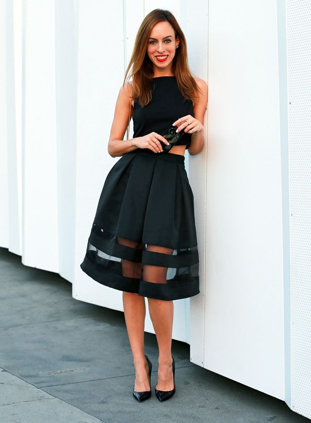 Vintage Striped Black Skirt With Sexy Sheer Panels Plus A