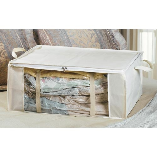 Use comforter bags from dollar tree for clothes storage. Once the kids have outgrown things...mark by size for easy find with next kid