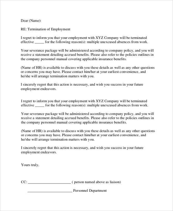 formal employment termination letter word template free download - company policy