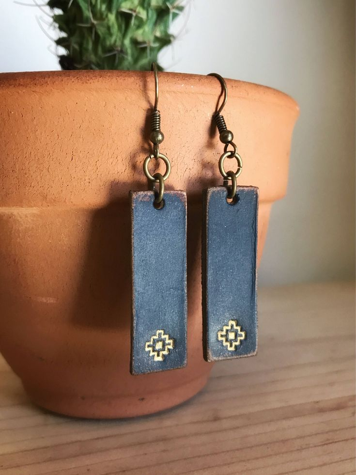 Leather earrings, leather jewelry, navy blue leather earrings, aztec earrings, leather bar earrings, bohemian jewelry by IraBelleAndCo on Etsy https://www.etsy.com/listing/581120604/leather-earrings-leather-jewelry-navy