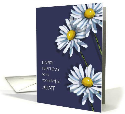 Happy Birthday to Aunt, Three Daisies, Christian Message, Flower Art card