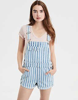 6970dd09 AE 90s Boyfriend Denim Short Overall, Blue | American Eagle Outfitters