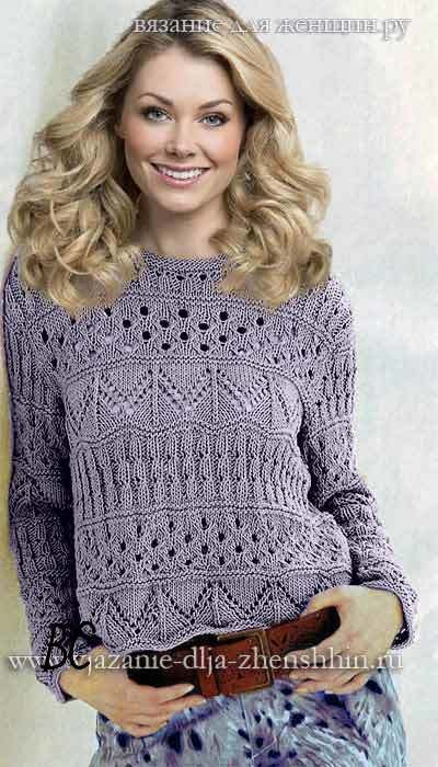 Ажурный пуловер с полосами из зигзагов и вертикальными узорами