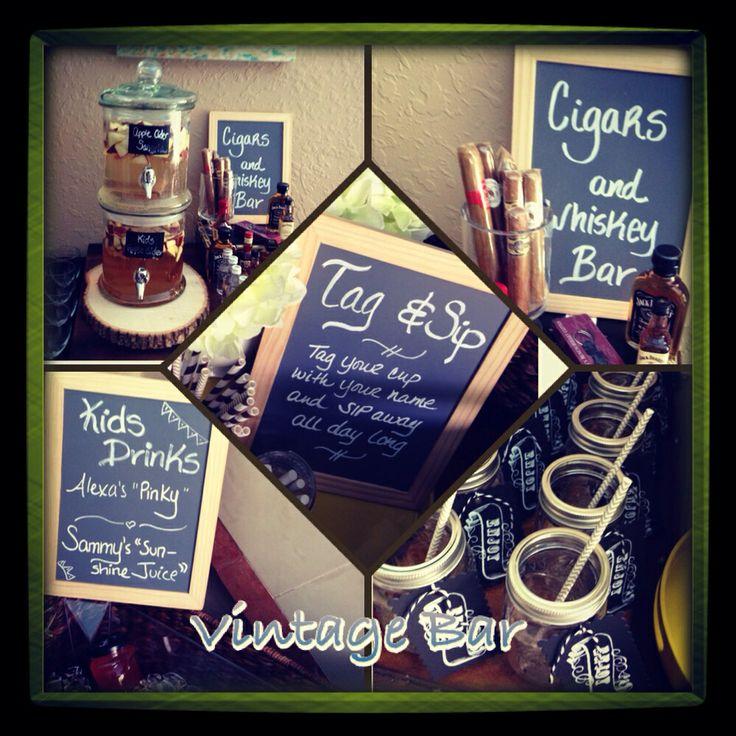 Vintage chalkboard bar with tag and sip glasses, mason jars, cigar bar, and Whiskey bar!