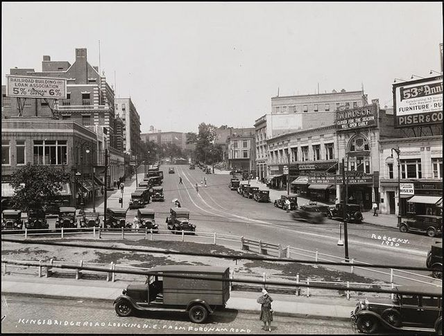 Fordham Road looking north at Kingsbridge Road in 1930. Poe Park, where Poe Cottage sits, is just up the road on Kingsbridge. The Windsor Theatre to right of the photo on Kingsbridge Rd. is closed for the season.