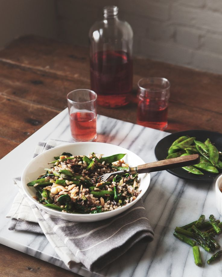 Wild Rice Bowl with Ramps, Asparagus, Snap Peas