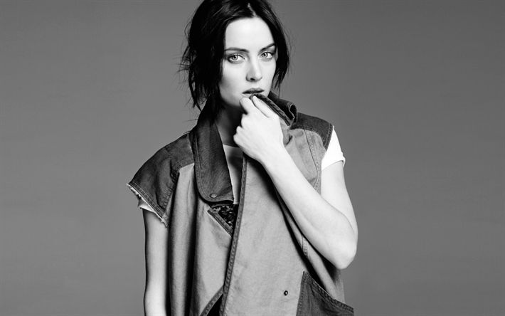 Download wallpapers Jessica Stroup, American actress, photoshoot, portrait, beautiful woman, monochrome