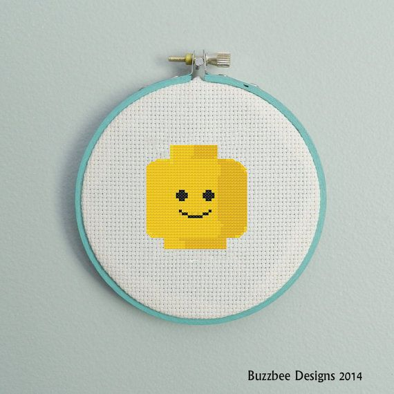 Lego head shot Downloadable PDF cross stitch by Buzzbeedesigns, $3.00