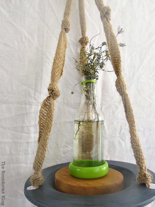 A bottle with flowers, The Virsatile Hanging Saucer / theboondocksblog.com