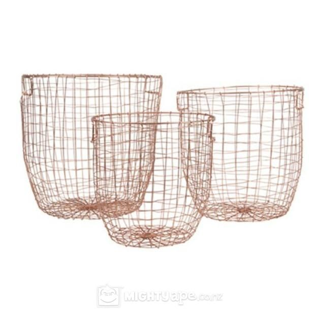 General Eclectic Round Baskets Set of 3 (Copper)