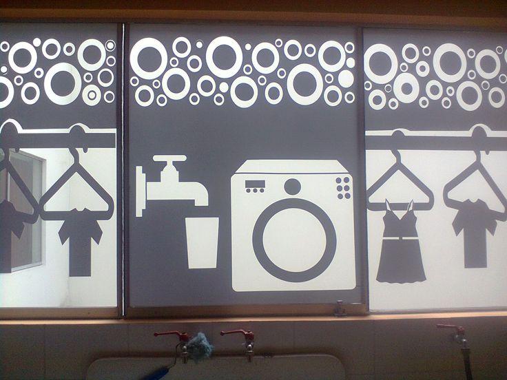 Vinil en lunas de vidrio en lavanderia sin quitar la luz - Vinilos decorativos para vidrios ...