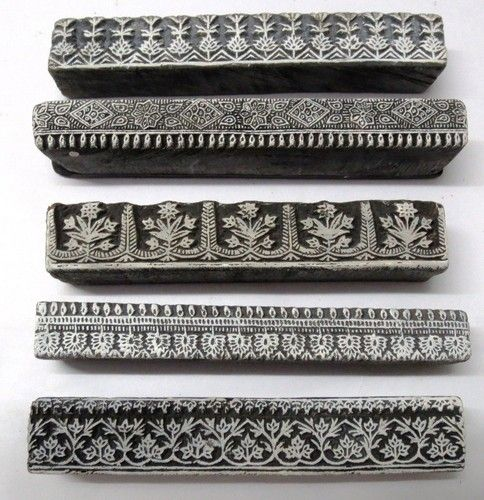 Indian Wooden Hand Carved Textile Printing Fabric Block Stamp Borders. Jaipur, Rajasthan, India