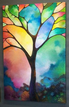 maybe do a myskit resist tree and then go in with black, could also do stained glass...