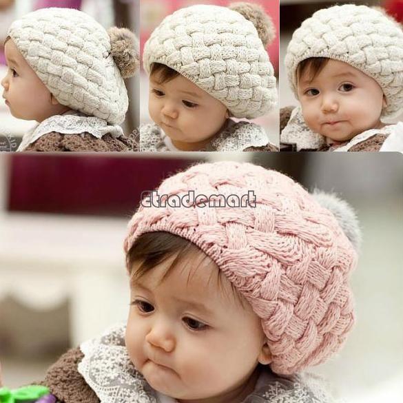 2014 Autumn winter Girl /Boy New Children Warm Winter Knitting Wool Crochet Beanie Hat Soft Nap Baby Cap 3Colors 5400 US $3.75
