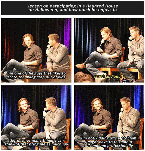 Jensen and Jared convention panel - Jensen Ackles on his love for scaring people - Supernatural Funny