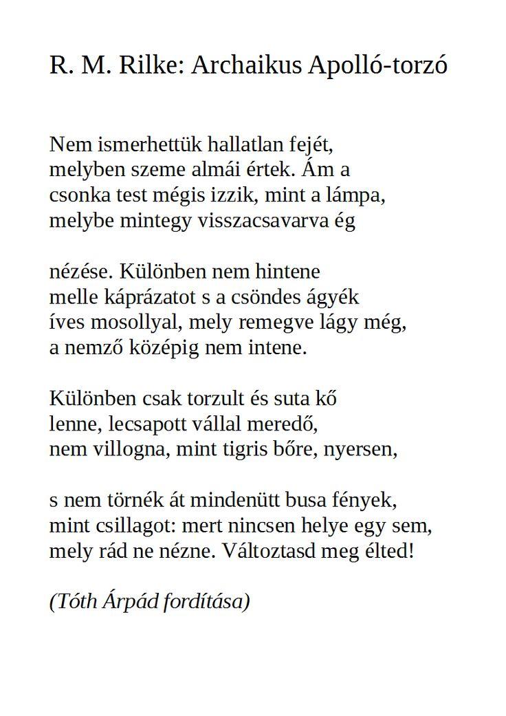R. M. Rilke - Archaikus Aplolló-torzó Nemes Nagy Ágnes elemzésével
