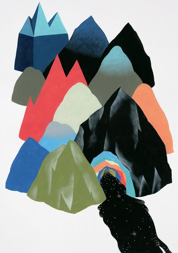 Colorful Mountain Landscape Geometry by Marta Orzel | Minimo Graph