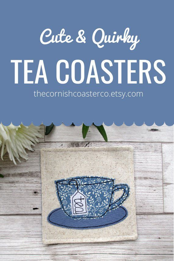 Blue Tea Cup Saucer Coasters Great Gift Idea For A Drinking Dad Tealover Fabriccoaster Giftforhim