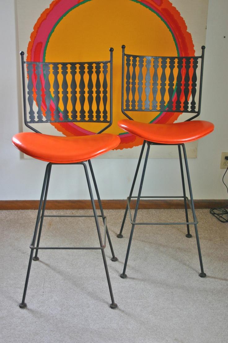 2 Vintage Mid Century Modern Arthur Umanoff Bar Stools Swivel Iron Eames