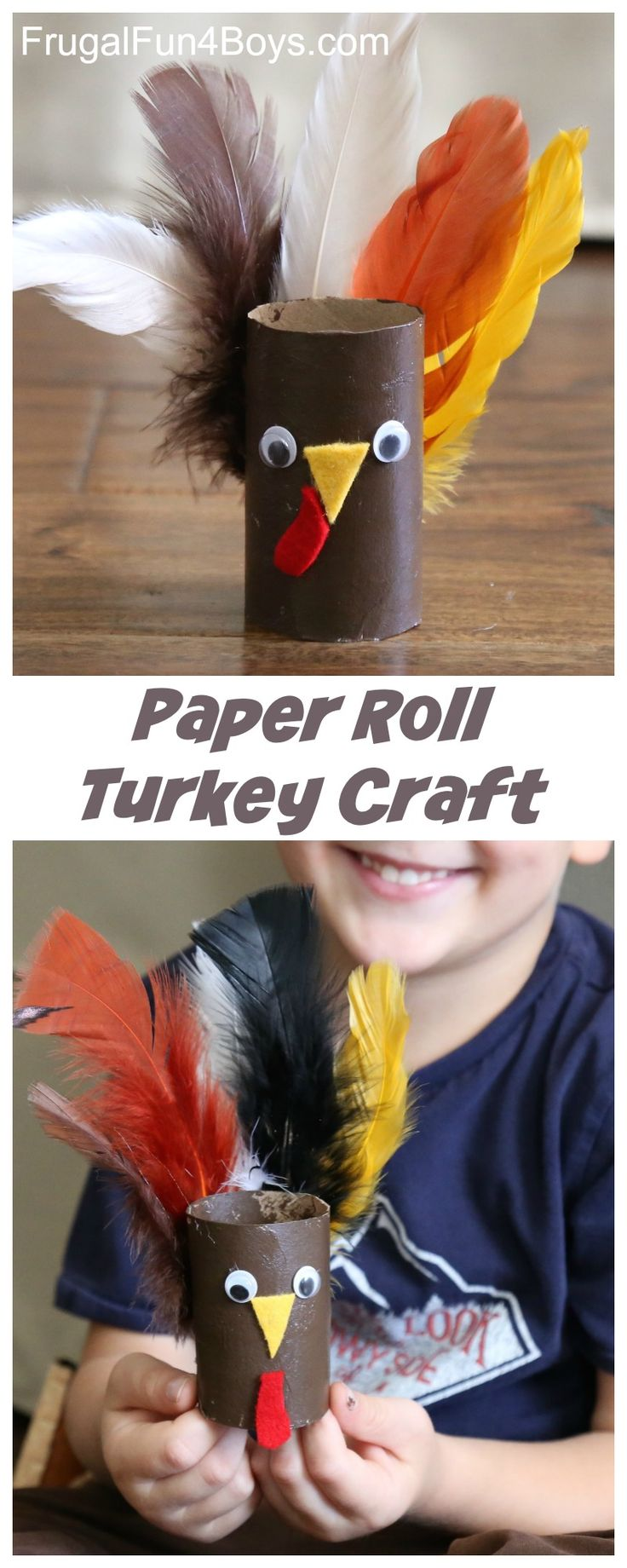 Adorable Paper Roll Turkey Craft - Perfect Thanksgiving project for preschoolers!