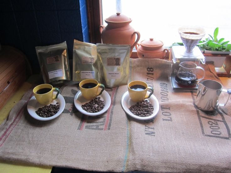 Tasting Japanese roasted coffee. Roasted on ubame oak charcoal.   from Coffeebeansonline.