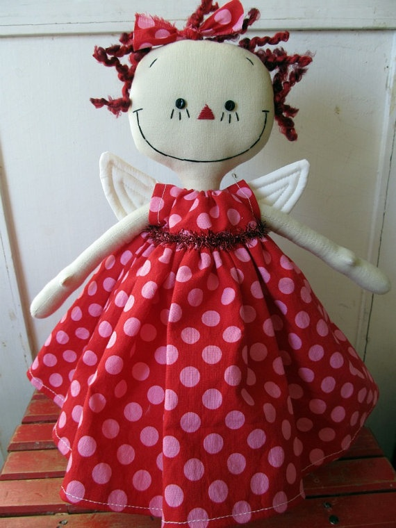 Angel Christmas Tree Topper in Red and Pink Polka Dots handmade