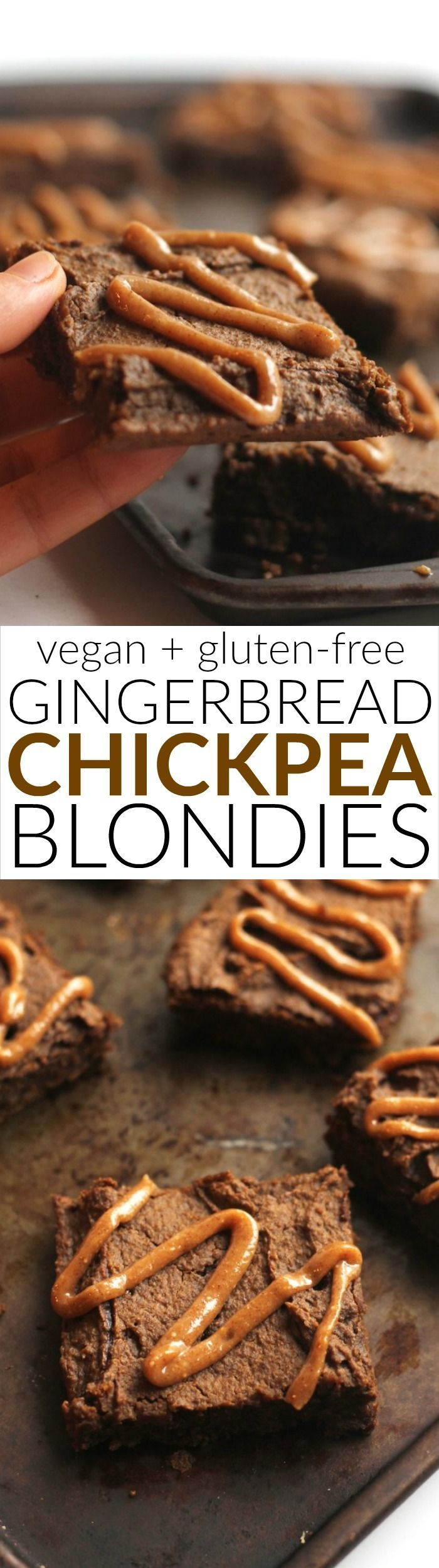 Flourless gingerbread blondies made with high-protein chickpeas! These vegan and gluten-free snack bars make the perfect healthy treat for kids and adults alike.