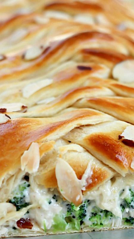 Chicken Broccoli Braid: crescent dough filled with a delicious mixture of chicken, broccoli, mayo and spices, all braided up into a fun braid.