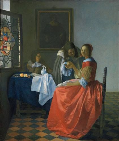 Jan Vermeer The Girl with a Wineglass 1659-1660 olio su tela  77,5x66,7 cm Herzog Anton Ulrich Museum,Brunswick